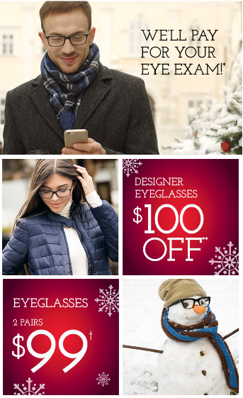 Designer Eyeglasses $100 Off / 2 Pairs of Eyeglasses $99
