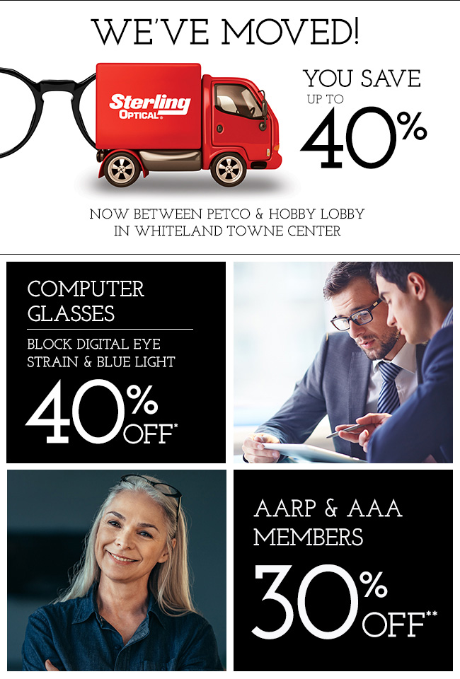 We've moved between Petco and Hobby Lobby in Whiteland Towne Center - You save up to 40%