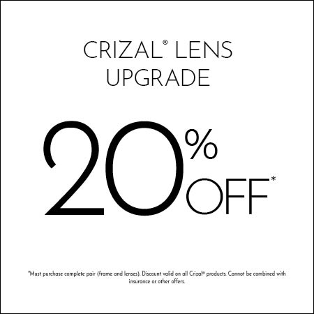 Crizal Lens upgrade 20% off